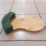 Urnenteller, 25x34x5 cm Holzboden rund mit 1/4-Ring