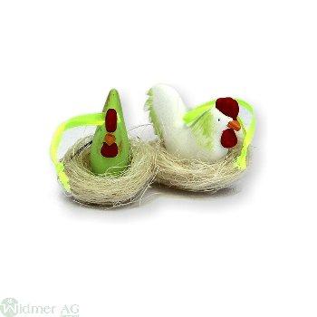Huhn und Hahn im Nest S/2 H: 5 cm